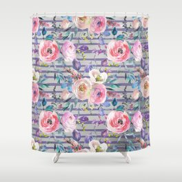 Pink lavender watercolor geometrical floral stripes Shower Curtain