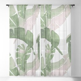 Tropical Leaves Green And Pink Sheer Curtain