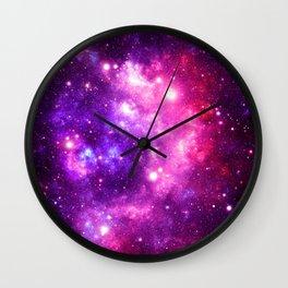 Purple Pink Galaxy Nebula Wall Clock