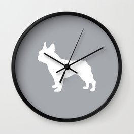 Boston Terrier pet silhouette grey and white minimal dog lover gifts Wall Clock