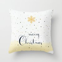 merry christmas Throw Pillows featuring Merry Christmas by Earthlightened