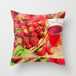 Red strawberries in basket and juice Throw Pillow