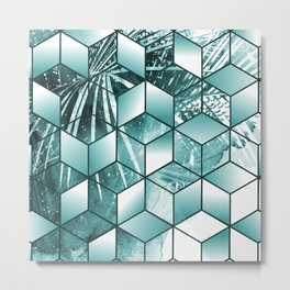 Tropical Cubic Effect Palm Leaves Design Metal Print