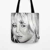 jennifer lawrence Tote Bags featuring Jennifer Lawrence by Papa-Paparazzi
