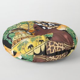 African woman,tiger,black  background . Floor Pillow