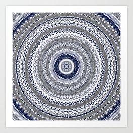 Navy Blue Grey Bohemian Mandala Art Print
