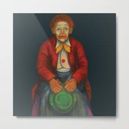 The green hat clown with the downhearted eyes / El payaso del sombrero verde y los ojos desanimados Metal Print