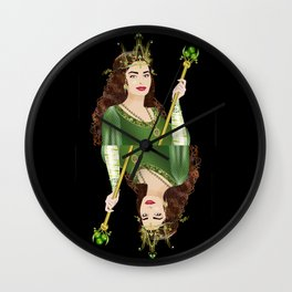 Queen of Clubs Wall Clock