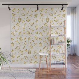 Gold Leaves Design on Cream Wall Mural
