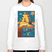 building Long Sleeve T-shirts featuring A Building by Orkha
