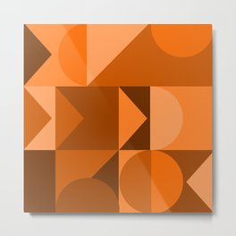 Desert Vibes Geometric Shapes in Terracotta and Burnt Orange Metal Print