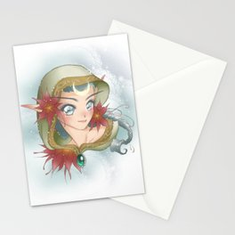 Poinsettia Elf Stationery Cards