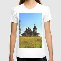 russia T-shirts featuring Wooden Church, Merkushino, Russia by Svetlana Korneliuk