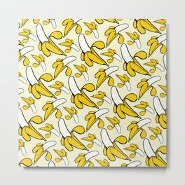 Yellow Nanner Banana Peel Pattern Metal Print