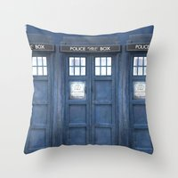 tardis Throw Pillows featuring Tardis by bimorecreative
