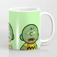 charlie brown Mugs featuring Zombie Charlie Brown by rkbr