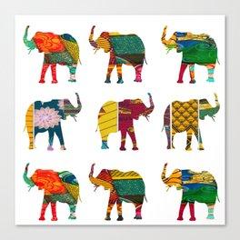 RetroAfro Elephant Print Canvas Print