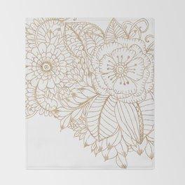 Elegant white faux gold glitter modern floral Throw Blanket