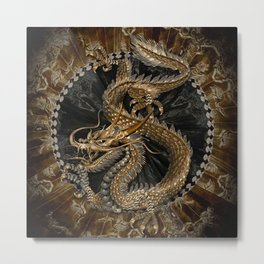 Dragon Pentagram Metal Print