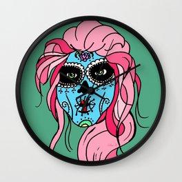 Pastel Sugar Skull Wall Clock