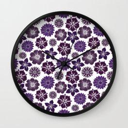 Violet Purple Pink Flowers Pattern Wall Clock