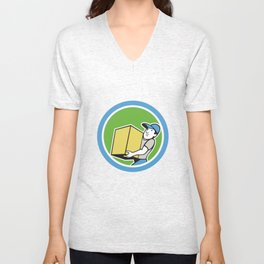 Delivery Worker Carrying Package Cartoon Unisex V-Neck
