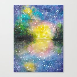 Crescent Moon Reflection Galaxy watercolor by CheyAnne Sexton Canvas Print