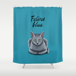 Feline blue Shower Curtain