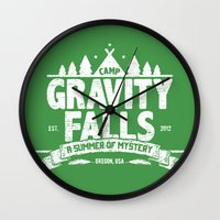 gravity falls Wall Clocks featuring Camp Gravity Falls  by MoviTees
