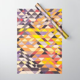 Triangle Pattern No.8 Black and Yellow Wrapping Paper