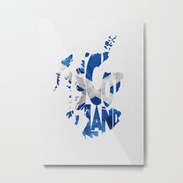 Scotland Typographic Flag / Map Art Metal Print