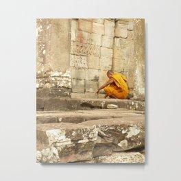 Monk at Angkor Wat Metal Print