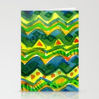 green pattern Stationery Cards featuring Green pattern by Nato Gomes