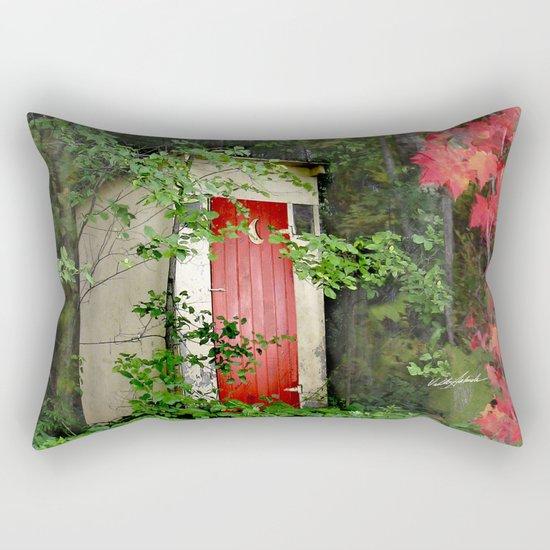 The Red Outhouse Door Rectangular Pillow