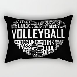 Love Volleyball Heart Rectangular Pillow