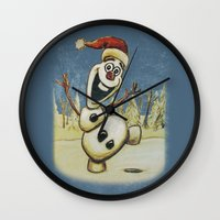 olaf Wall Clocks featuring Olaf Christmas Frozen by WimpyGeek Art