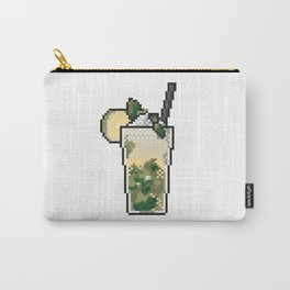 Refreshing icy lemonade with mint, lemon and ice pixel art on white background. Carry-All Pouch