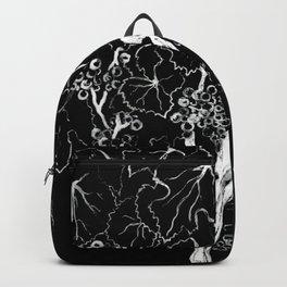 White ink, black cardboard. Vine trees. Grapes. White ink Backpack