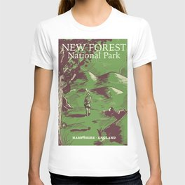 New Forest, Hampshire, England national park vintage poster T-shirt