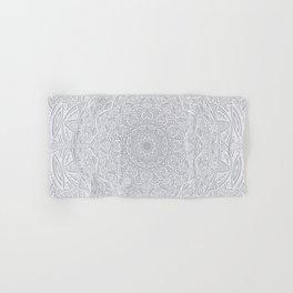 Most Detailed Mandala! Cool Gray White Color Intricate Detail Ethnic Mandalas Zentangle Maze Pattern Hand & Bath Towel