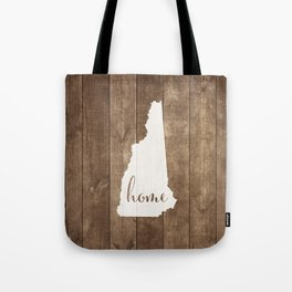 New Hampshire is Home - White on Wood Tote Bag