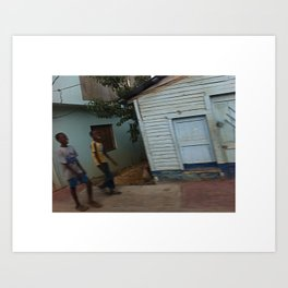 Kids smiling in Dominican street Art Print