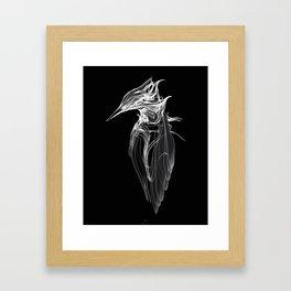 Kingfisher 1b.  White on black  background-(Red eyes series) Framed Art Print