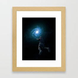 Astronaut and galaxy Framed Art Print