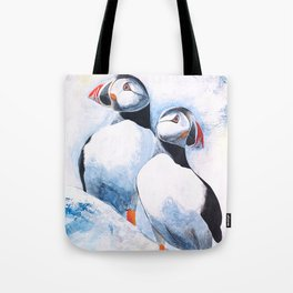 Puffins - I watch over you, little brother - by LiliFlore Tote Bag