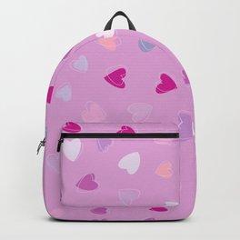 Love, Romance, Hearts - Blue Purple Pink White Backpack