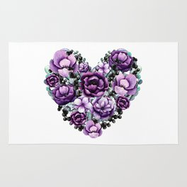 Purple Floral Heart Design Rug