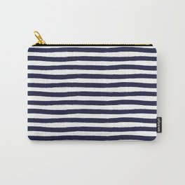 Navy Blue and White Horizontal Stripes Carry-All Pouch