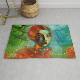 """""""Exotic woman in green and orange tropical jungle"""" Rug"""
