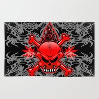 tattoos Area & Throw Rugs featuring Red Fire Skull with Tribal Tattoos by BluedarkArt